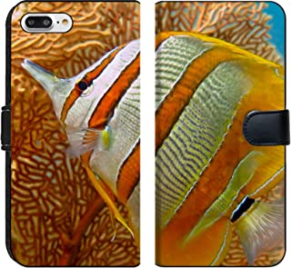 MSD Premium Phone Case Designed for iPhone 7 Plus and iPhone 8 Plus Flip Fabric Wallet Case Image ID: 32082957 Sea Life Exotic Tropical Coral Reef copperband Butterfly Fish