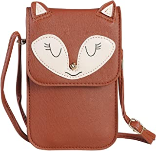 Universal Multipurpose Synthetic Leather Crossbody Cell Phone Bag Purse Mini Wallet Pouch for iPhone 7 6/6S,7Plus/6S Plus,Smasung Galaxy S7,S7 Edge (C-Brown Fox)