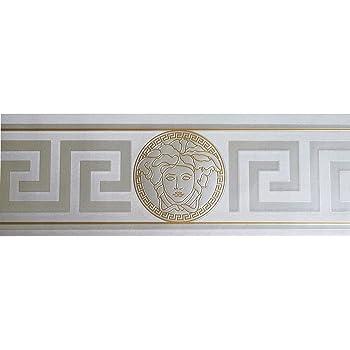 Bordo a rilievo disegno greca romana effetto tessuto colore argento glitterato su fondo bianco M5275 Mini Classic