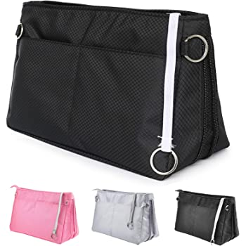 Joqixon Handbag Organiser Insert, Expandable Bag Organiser Insert Handbag, Tote Bag Organizer with Zip, Travel Cosmetic Pouch Purse Organizer Bag