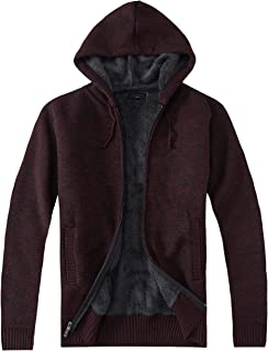 Gioberti Men's Full Zip Knitted Cardigan Sweater with Hoody and Sherpa Lining