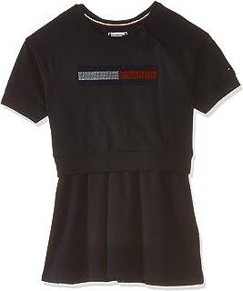 Tommy Hilfiger Girl's Lurex Flag Knit Dress Short Sleeve Dress