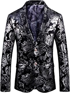 251eefba176 WULFUL Men s Luxury Casual Dress Floral Suit Notched Lapel Slim Fit Stylish Blazer  Jacket Party Coats