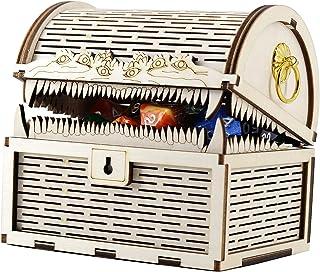 DND Mimic Chest Box Wood Laser Cut Dice Storage Case مثالي للزنزانات والتنانين ولعبة الطاولة و RPG على الطاولة وإكسسوارات ...