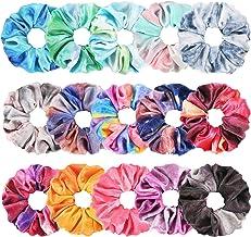 Tie Dye Velvet Scrunchies for Hair, Funtopia 15 Pcs Velvet Hair Scrunchies in Gradient Color, Soft Hair Bands Rainbow Scru...