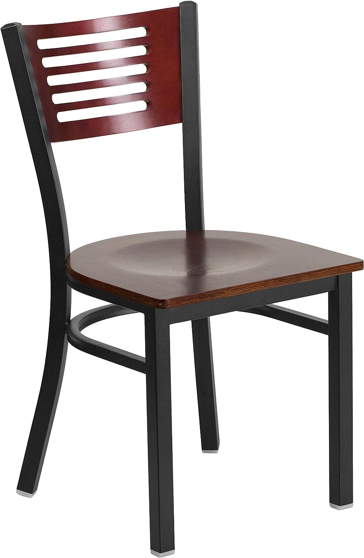 Flash Furniture Hercules Series Black Slat Back Metal Restaurant Chair - Mahogany Wood Back & Seat