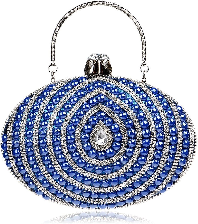 Ladies Handbag Women's Ellipse Evening Party Bag Clutch Purse Handbag (color   blueee)