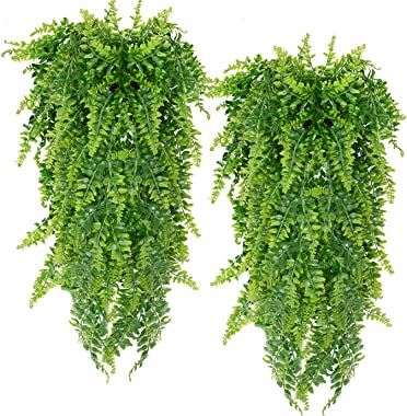 Artificial Hanging Vines Plants Fake Ivy Ferns for Outdoor UV Resistant for Wall Indoor Hanging Baskets Wedding Garland Decor
