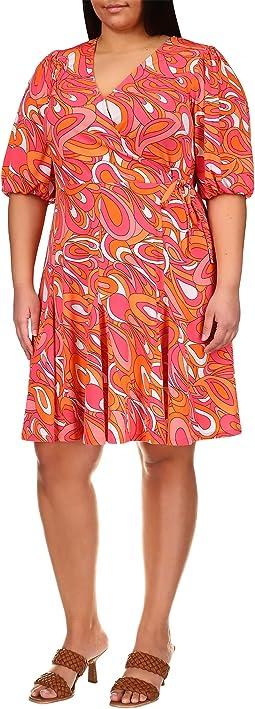 Plus Size Faux Wrap Mini Dress
