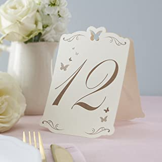 Ginger Ray Ivory & Gold Butterfly Table Numbers 1-12 Tent Card for Weddings, Parties and Events, White
