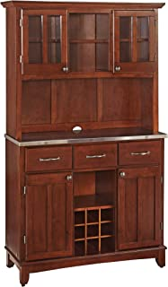 Buffet of Buffets Cherry with Stainless Steel Top with Hutch by Home Styles
