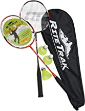 RiteTrak Sports FiberFlash 7 Badminton Racket Set, Featuring 2 Carbon Fiber Shaft Racquets, 3 Shuttlecocks Plus Fabric Carrying Bag All Included - Choose Your Favorite Colors