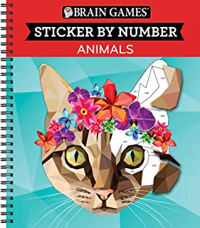 Brain Games - Sticker by Number: Animals (Geometric Stickers)