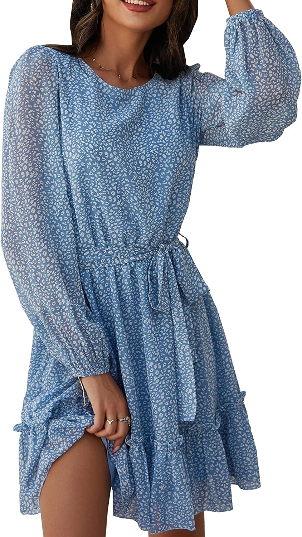 Theenkoln Women's Casual Floral Printed Ruffle Layer Waist Tie Roundneck Long Sleeve Mini Dress