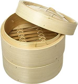 UPKOCH Vapeur de Bambou Panier /à Vapeur Chinois pour la Cuisson /à la Vapeur dim sum boulettes brioches l/égumes Viande Poisson Riz diam/ètre 9 cm