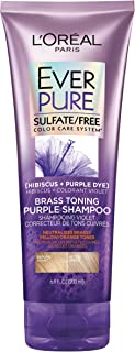 L'Oreal Paris Hair Care EverPure Sulfate Free Brass Toning Purple Shampoo for Blonde, Bleached, Silver, or Brown Highlighted Hair, 6.8 Fl Oz.