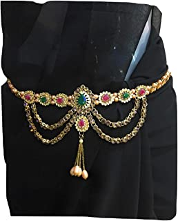 XLDreams Women's Plated Kundan Waist Chain for Parties Festival (Gold )