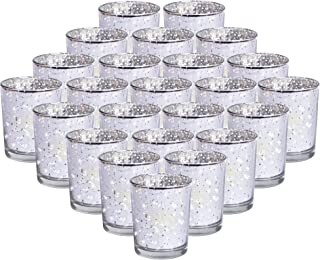 24-Pack Mercury Votive Candle Holders Bulk, Speckled Sliver Mercury Candle Holders Perfect Decor for Home, Wedding, Prom, Party - 2.67
