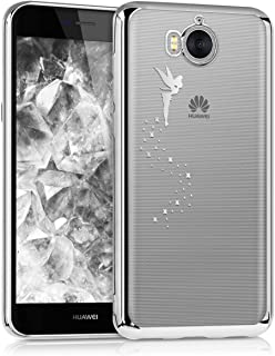 kwmobile Crystal Case for Huawei Y6 (2017) - Soft Flexible TPU Silicone Protective Cover - Transparent Silver 42686.02