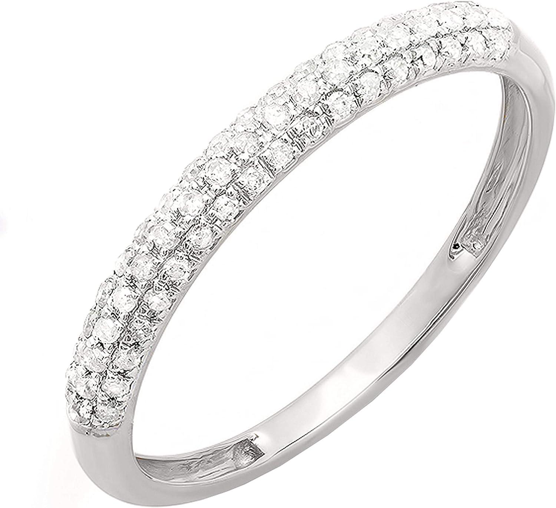 Dazzlingrock Collection 0.25 Carat (cttw) Round White Diamond Ladies Stackable Wedding Band Ring 1/4 CT, 10K Gold