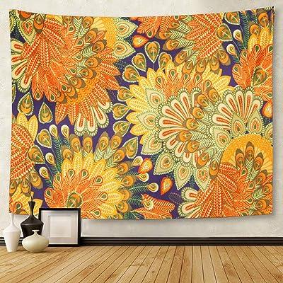 Tapiz para colgar en la pared, diseño vintage, color naranja 1970S, diseño floral de cachemira azul 60S 1960S flor de 127 x 152 cm, tapicería de colchón, mantel, cortina de decoración para el hogar