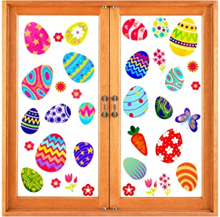 Konsait Easter Eggs Window Clings, Removable PVC Window Decal Stickers, for Easter Party Favor Kids School Home Window Gla...