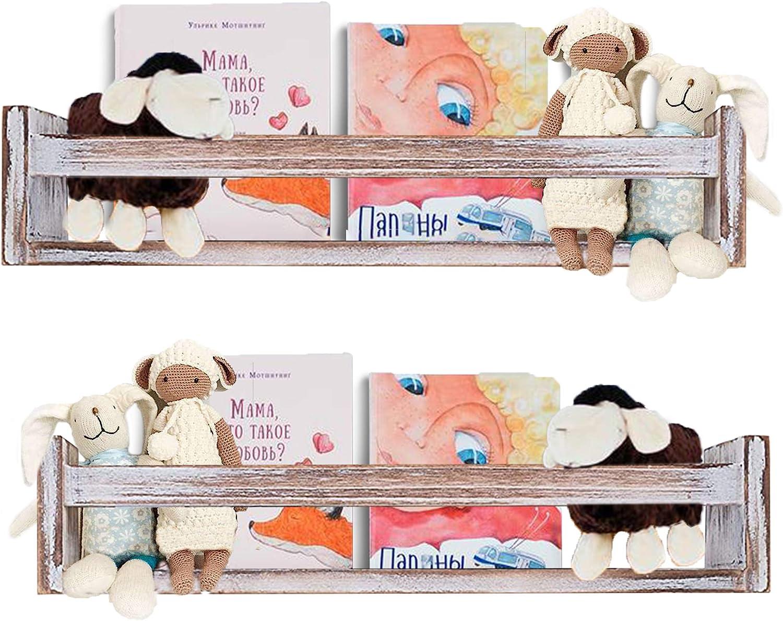 Free shipping Cocomong Rustic Floating Manufacturer OFFicial shop Nursery Shelves Bookshel Wood 2 of Set