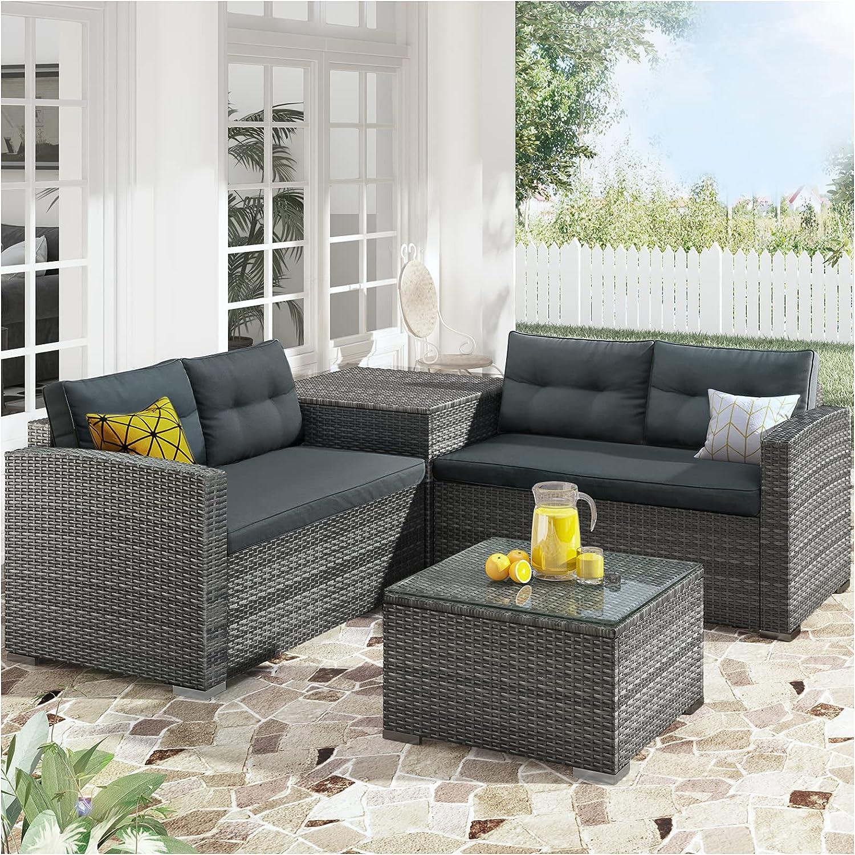 4 trust Piece Rattan Patio Furniture Sets 2021 Outdoor Ratta All Weather PE