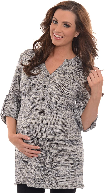 Dynashape Intima Maternity Pull Over Lurex Knit Heathered Sweate