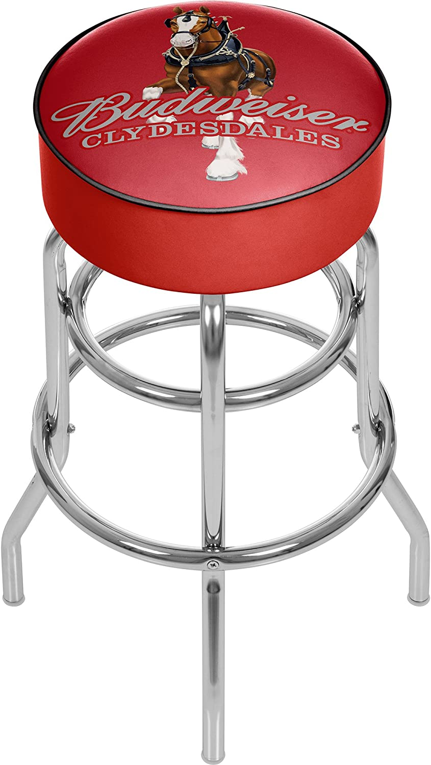Trademark Gameroom Budweiser Padded Swivel Bar Stool - Clydesdale Red AB1000-CLY-R