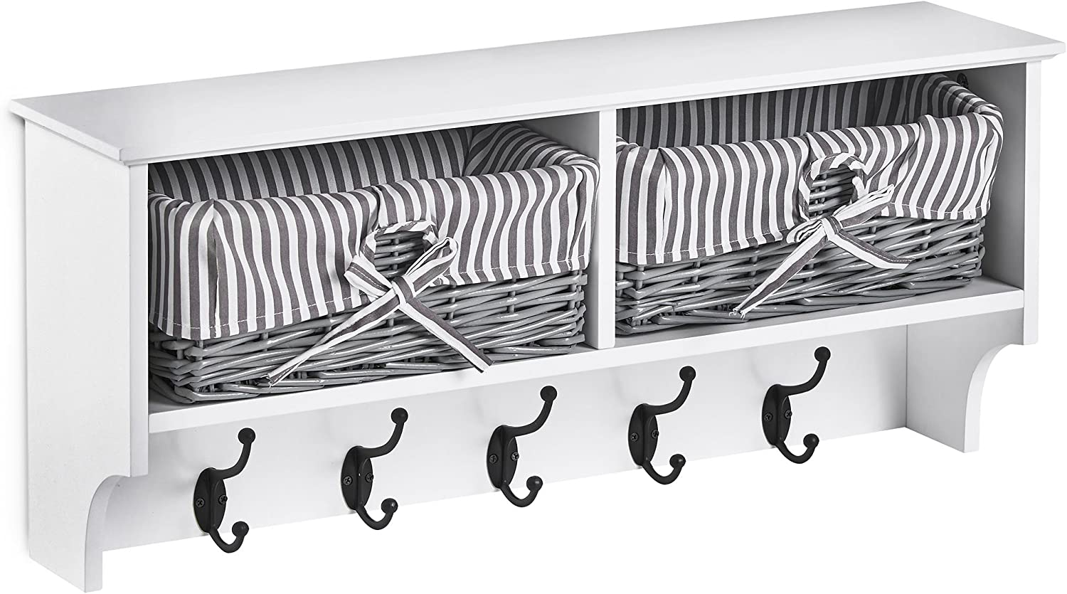 VonHaus Hallway Hanging Coat Hooks & Storage Unit - Contemporary White & Grey Wooden Hall Furniture with Wicker Storage Baskets
