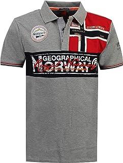 Geographical Norway Kidney - Polo Algodón con Logo para Hombre - Camisa Fit Comodidad - Camiseta Bordado Transpirable Mang...