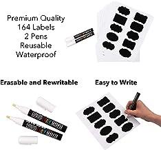 164 etiquetas de pizarra de PVC de alta calidad con un acabado premium. Organiza tu cocina, despensa, nevera u oficina. Ideal para etiquetar tarros o botellas.