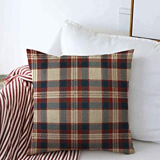 Throw Pillows Cover 18 x 18 Inches Blue Patriotic Scottish Tartan Plaid Pattern Beauty Red Abstract Retro Check Cross Geometric Kilt Cushion Case Cotton Linen for Fall Home Decor