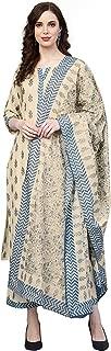 INDO ERA Women's Pure Cotton Straight Palazzo Kameez With Dupatta (Beige)