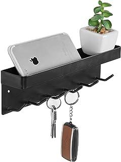 MyGift 6-Hook Wall-Mounted Black Metal Key Holder with Top Shelf
