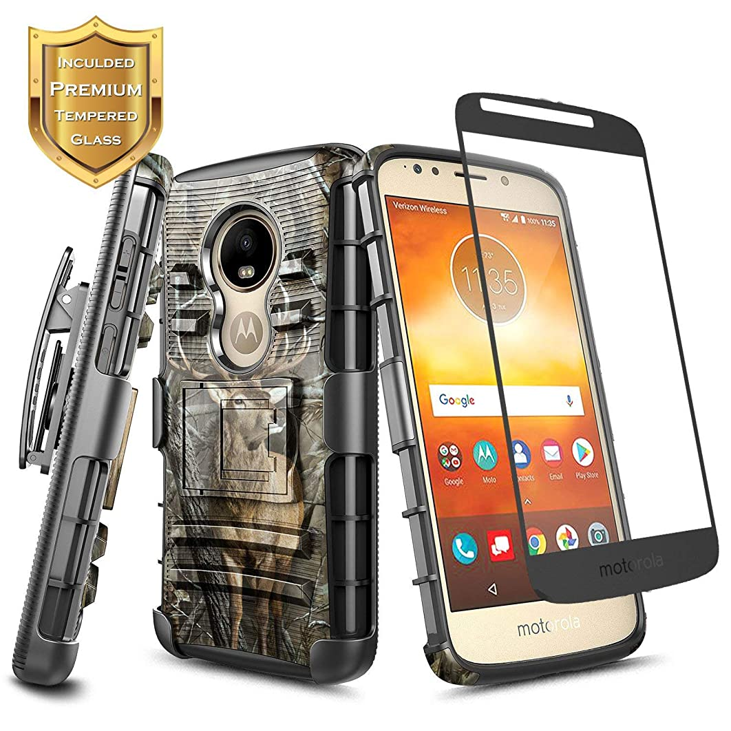 Moto E5 Play Case, Moto E5 Go/Moto E5 Cruise w/[Tempered Glass Screen Protector], NageBee Belt Clip Holster Heavy Duty Shockproof Kickstand Combo Rugged Case for Motorola Moto E Play 5th Gen -Deer