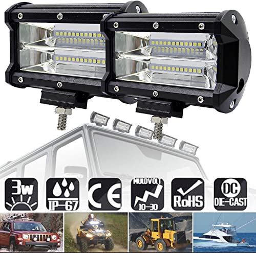 discount 5 Inch 72W/Pc LED Light Bar Work Lights 2-Row Flood Spot Combo Beam outlet sale Marine LED Lighting for Off-road Truck Jeeps SUV Boats online Car Boat 4WD ATV 12/24V, Pack of 2 outlet online sale