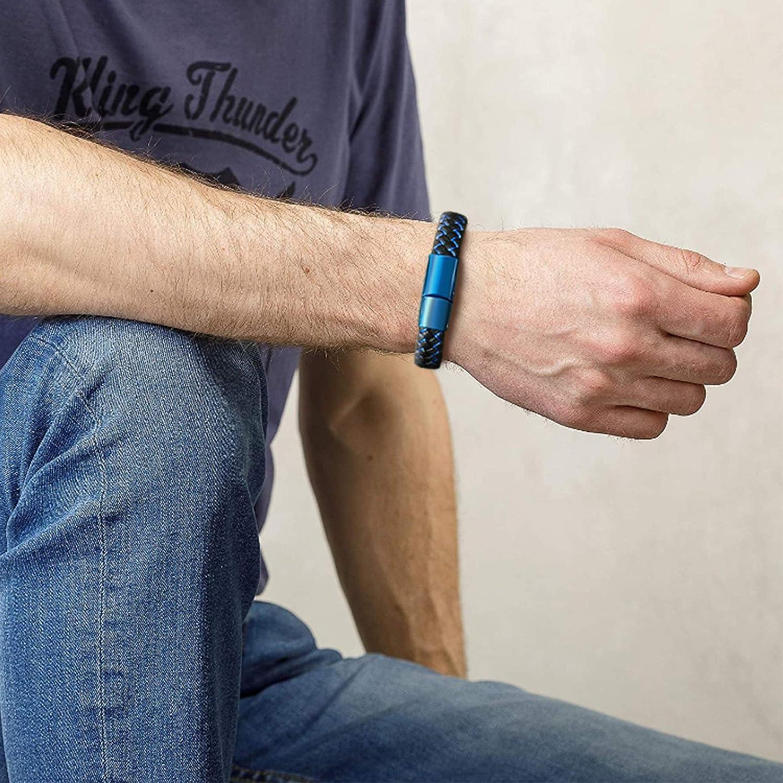 VNOX Custom Engraving Medical Alert ID Blue&Black Braided Leather Stainless Steel Magnetic Cuff Bracelet