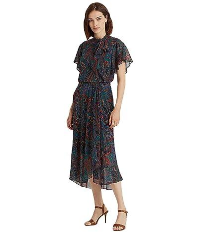 LAUREN Ralph Lauren Paisley Georgette Tie Neck Dress