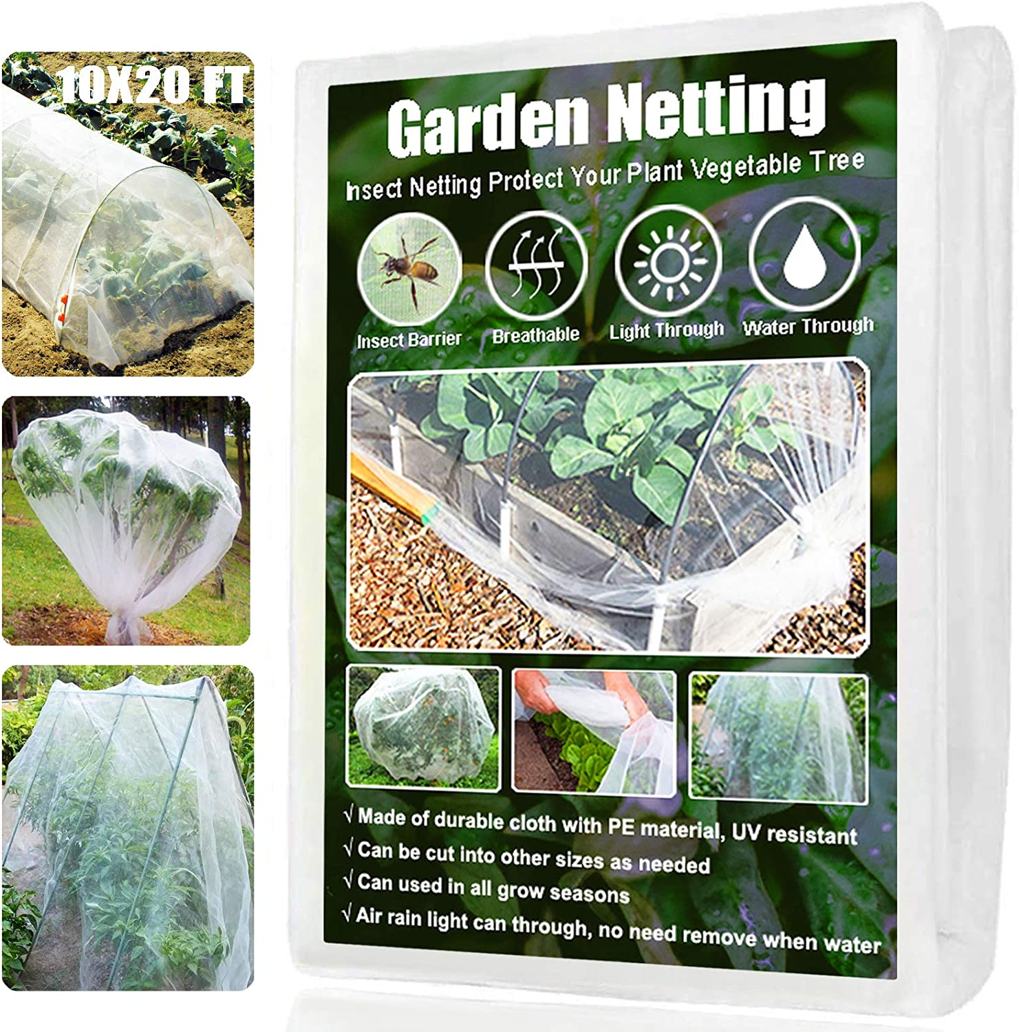 Amgate Garden Netting Pest Barrier, 10x20 Ft Mesh Bug Insect Netting for Plants Garden Trees Vegetables Fruits Flowers Crops Row Cover Mosquito Screen Net : Patio, Lawn & Garden