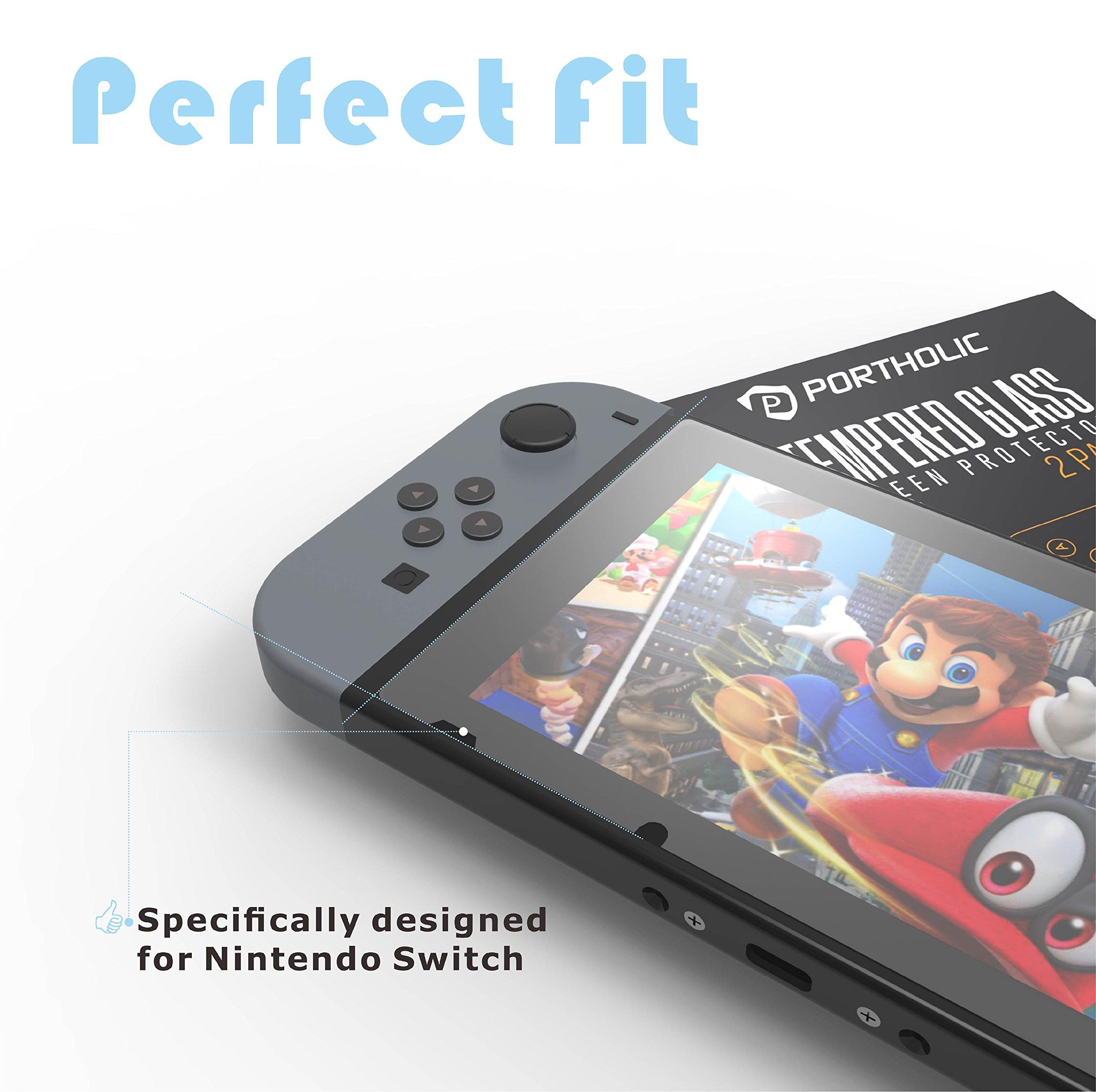 PORTHOLIC Protección de pantalla para Nintendo Switch [2 unidades] [Anti-estallido] [Ultra claro + anti-burbuja + anti-huella digital y resistente a los arañazos]: Amazon.es: Videojuegos