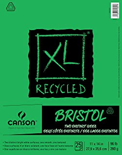 "Canson XL Series Recycled Bristol Pad, 11"" x 14"", Fold-over Cover, 25 Sheets (100510933)"