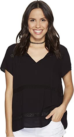 Paulette Rayon Crepe + Ribbon Trim Top