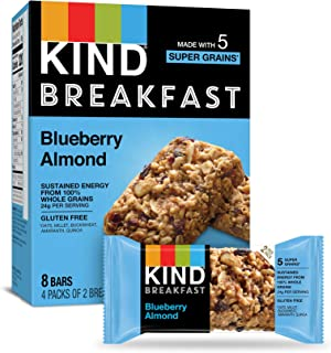 KIND Blueberry Almond Breakfast Bars, Gluten Free, 1.8oz, , 32 Count (Pack of 32)