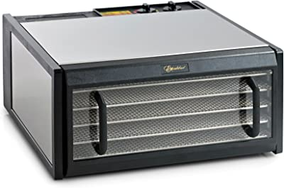 Excalibur D500CDSHD 5-Tray Electric Food Dehydrator with Clear Door for Viewing Progress Features 26-Hour Timer Temperature Settings and Automatic Shut Off Made in USA, 5-Tray, Silver