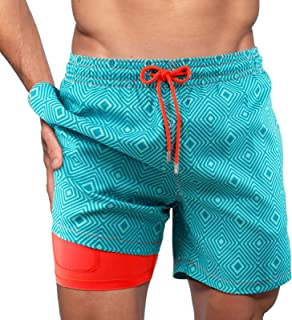 WDBK Men's Swimming Shorts,Pure Color Quick Dry Beach Board Trunks With Mesh Lining With Elastic Drawstring Waistband And ...