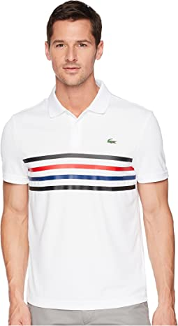 Short Sleeve Pique w/ Multicolor Fine Stripes
