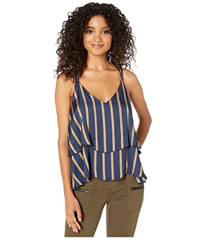 Chaser Silky Basics Strappy Knot Back Tiered Cami (Stripe) Women
