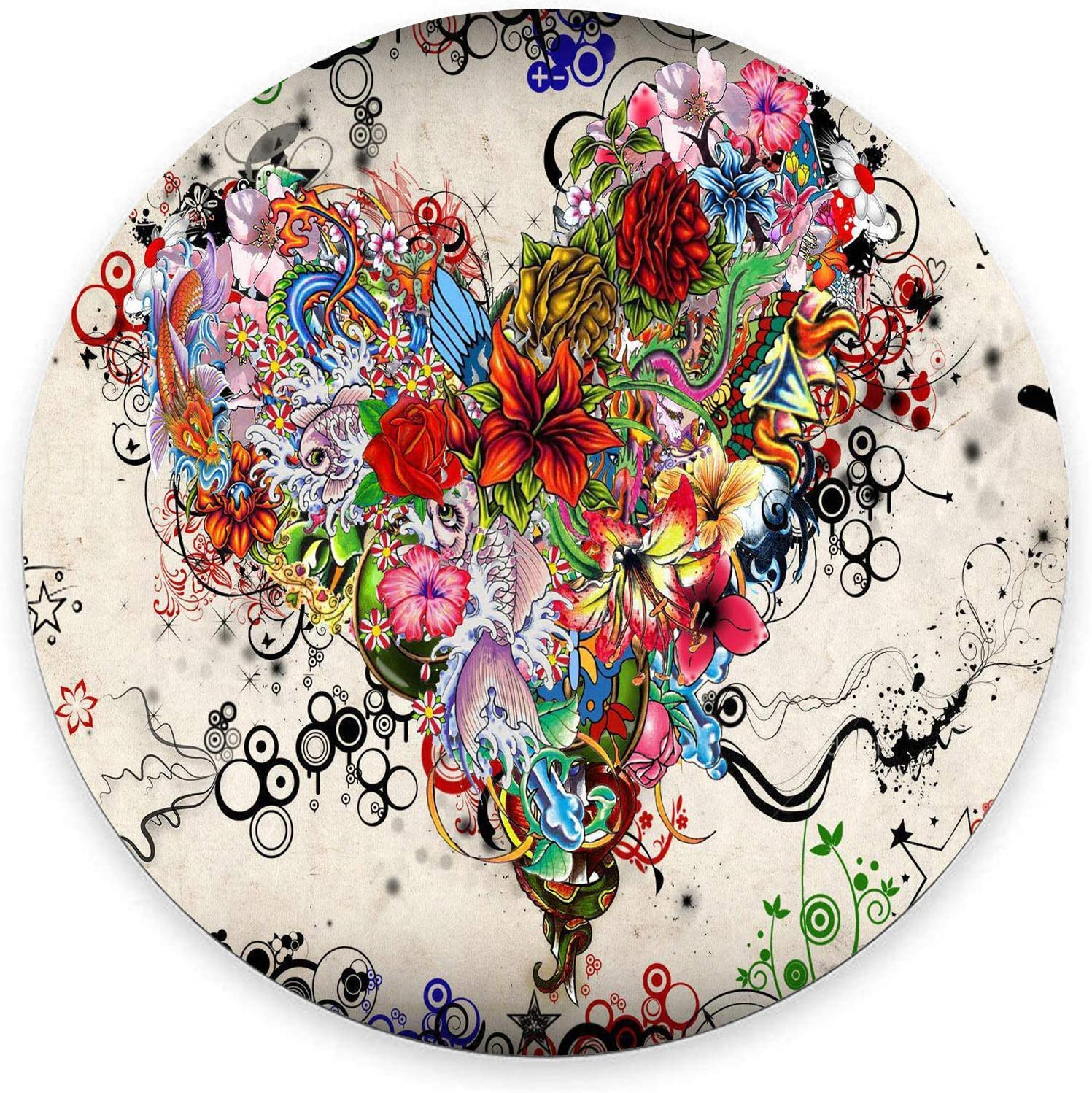 Round Animer and price revision Mouse Pad Colorful Recommended Heart Flower Gorgeous Tatto